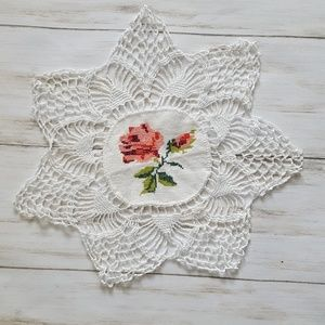 vintage crocheted cross stitched doily